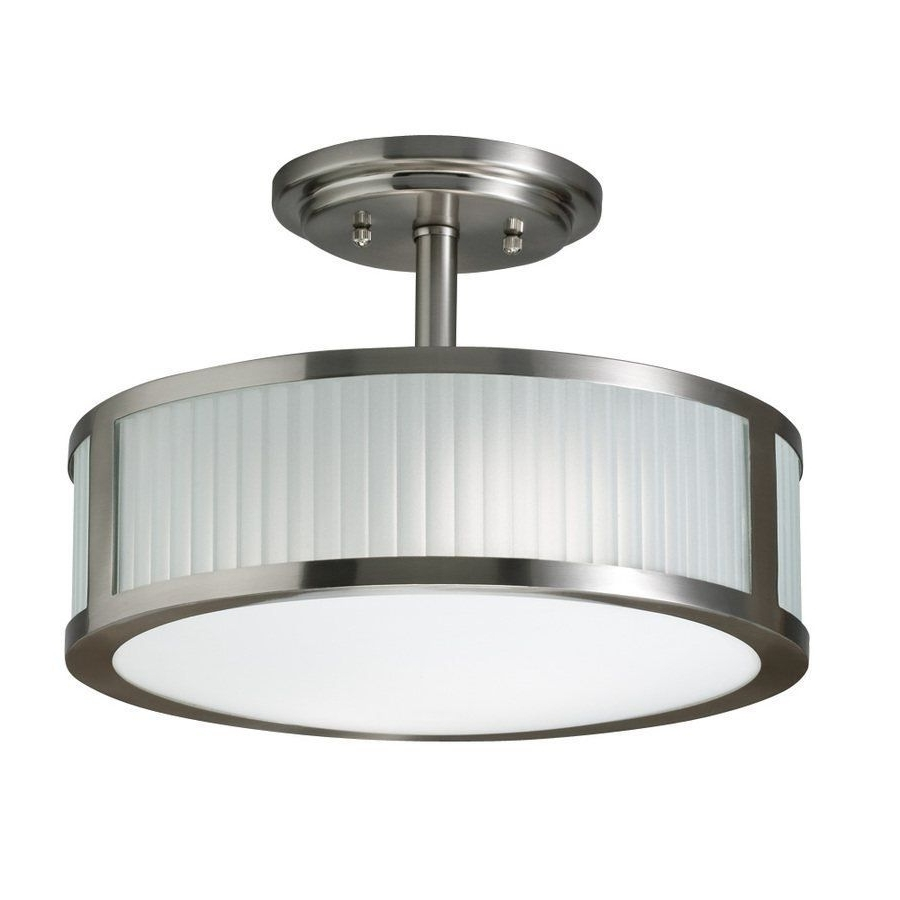 Well Liked 3 Light Allen + Roth 13 In Brushed Nickel Frosted Glass Semi Flush Within Brushed Nickel Outdoor Ceiling Lights (View 15 of 20)