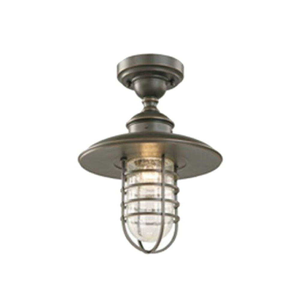 Well Liked Hampton Bay Dual Purpose 1 Light Outdoor Hanging Oil Rubbed Bronze Pertaining To Outdoor Close To Ceiling Lights (View 20 of 20)