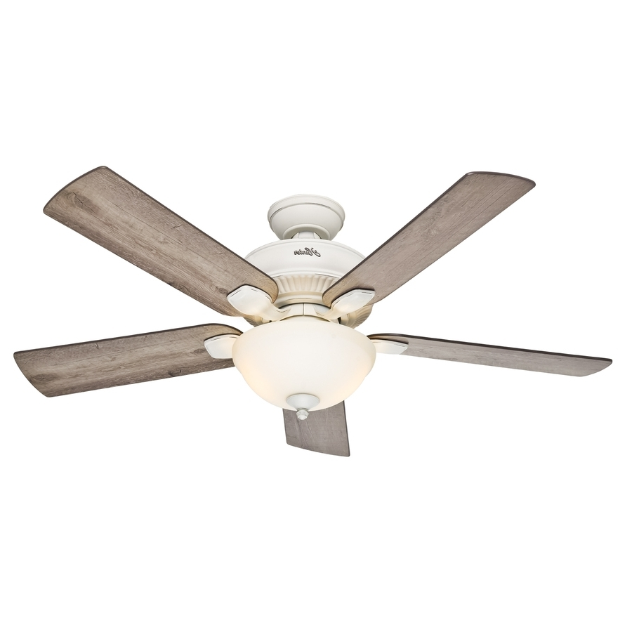 Well Liked Hunter Outdoor Ceiling Fans With Lights And Remote Pertaining To Shop Hunter Matheston 52 In Cottage White Indoor/outdoor Downrod Or (View 15 of 20)