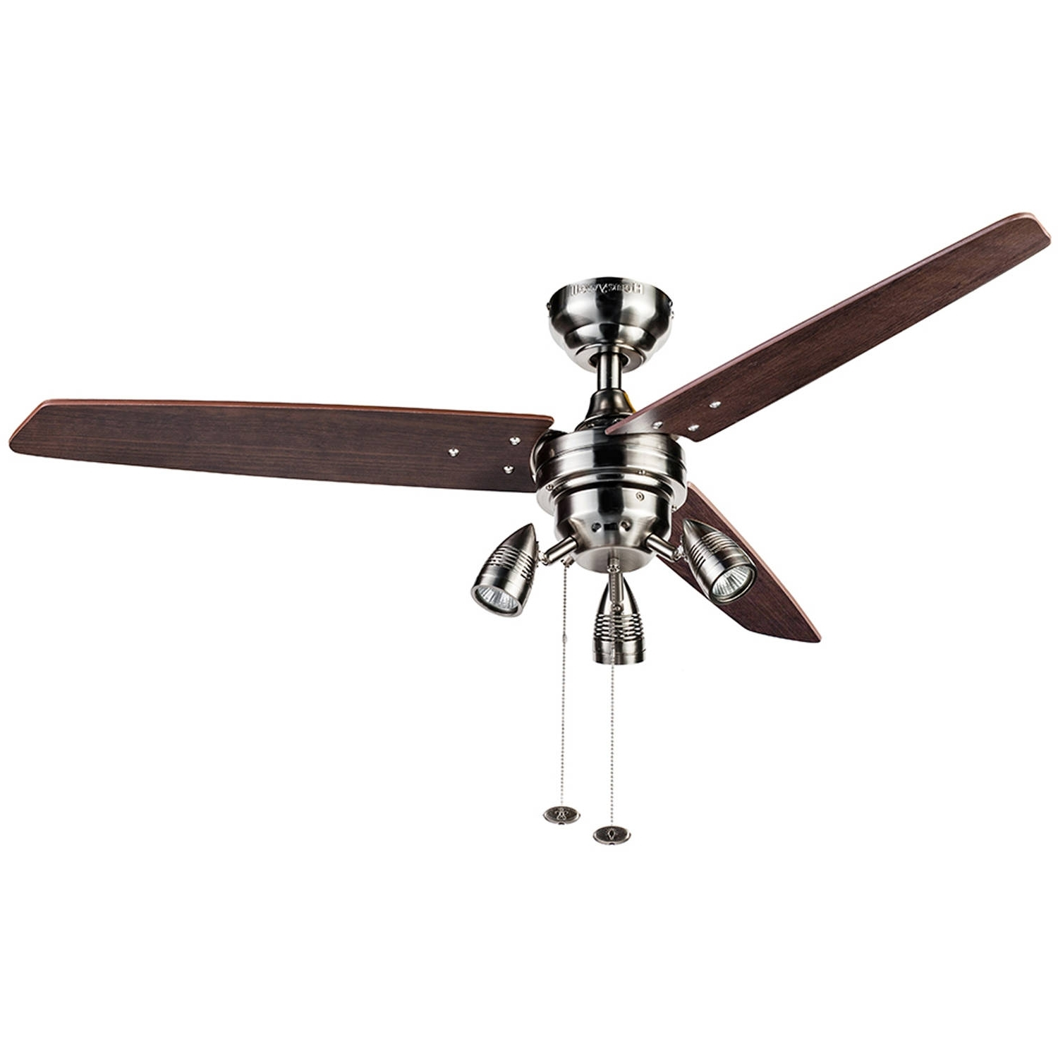 "Well Liked Outdoor Ceiling Fans With Bright Lights Intended For 42"" Mainstays Hugger Indoor Ceiling Fan With Light, White – Walmart (View 19 of 20)"