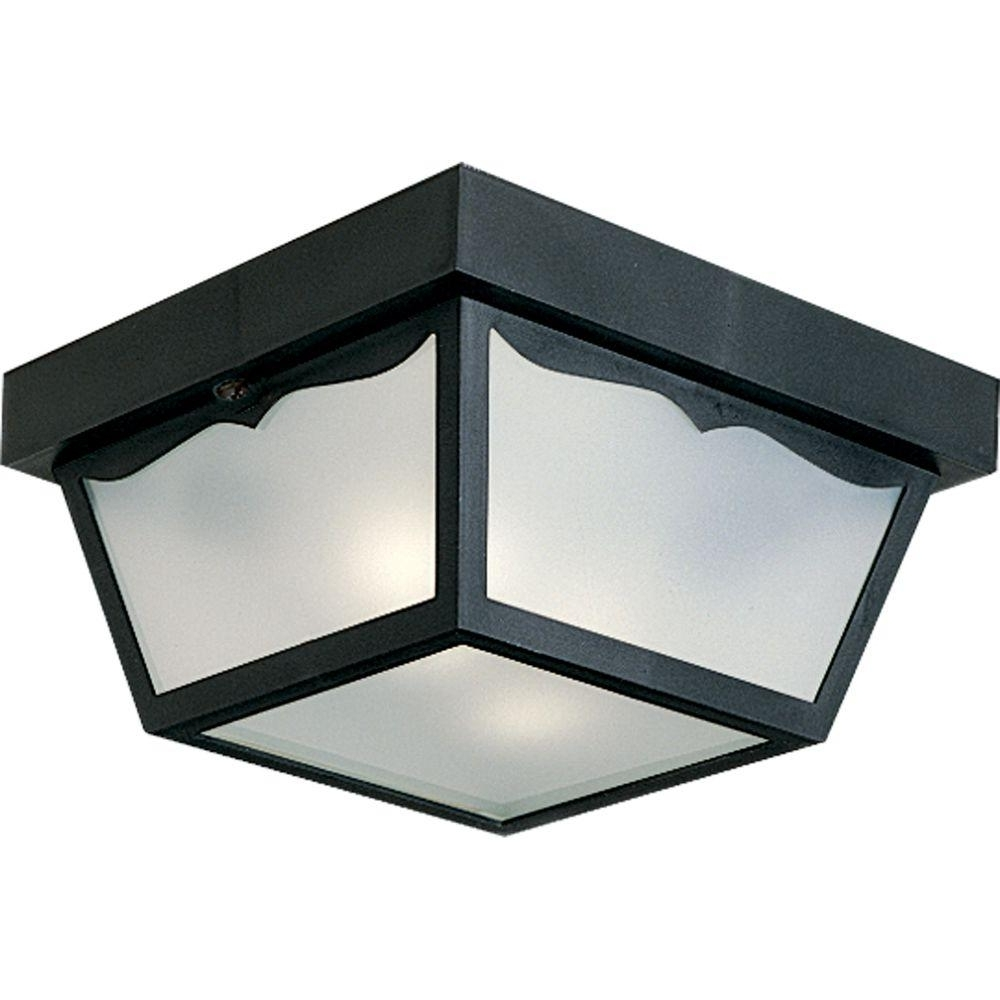Well Liked Outdoor Ceiling Lights For Porch With Progress Lighting 2 Light Black Outdoor Flushmount P5745 31 – The (View 15 of 20)