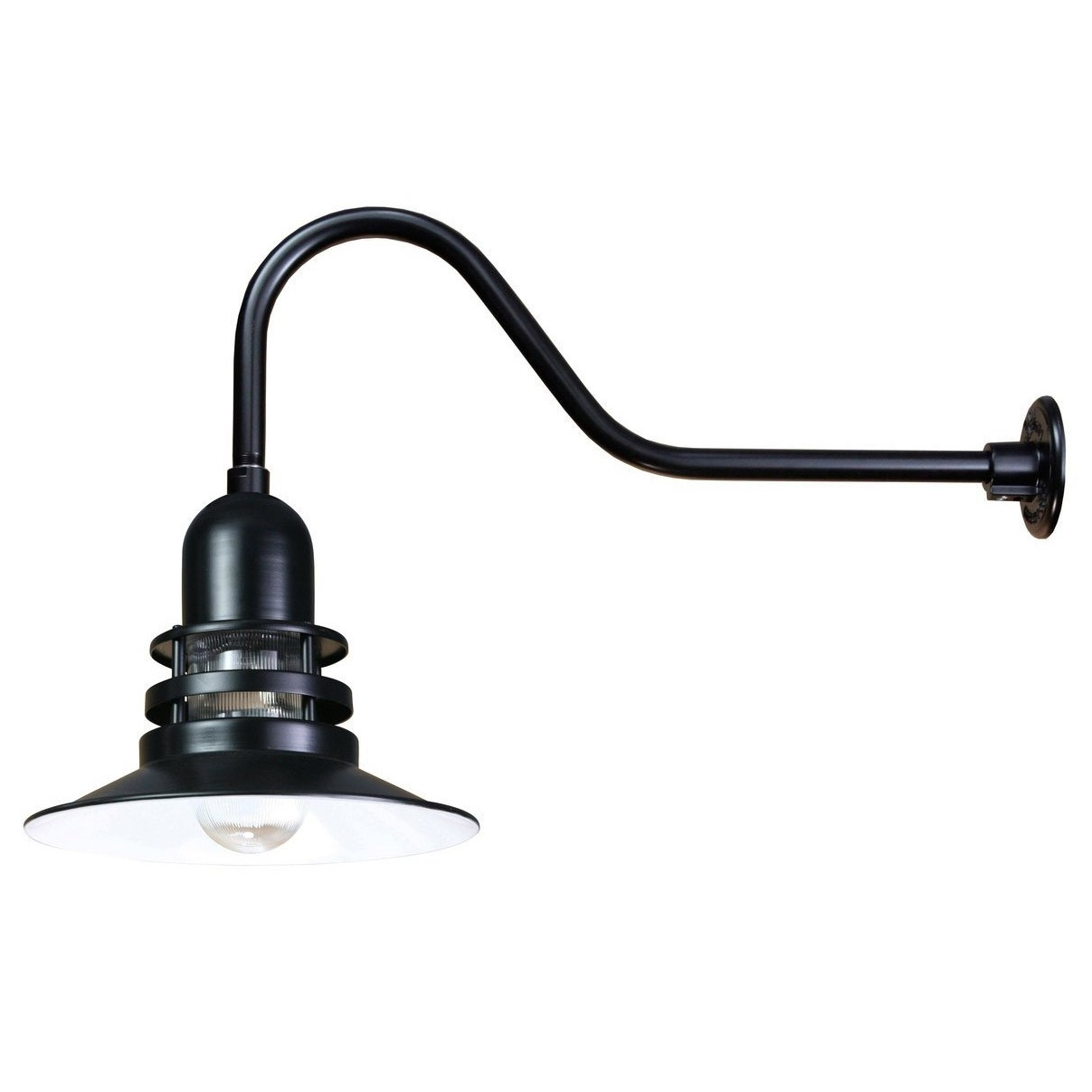 Well Liked Outdoor Gooseneck Wall Lighting Regarding Anp Lighting Orb12 Fr E6 41 Orbits 1 Light Aluminum Outdoor Wall (View 18 of 20)