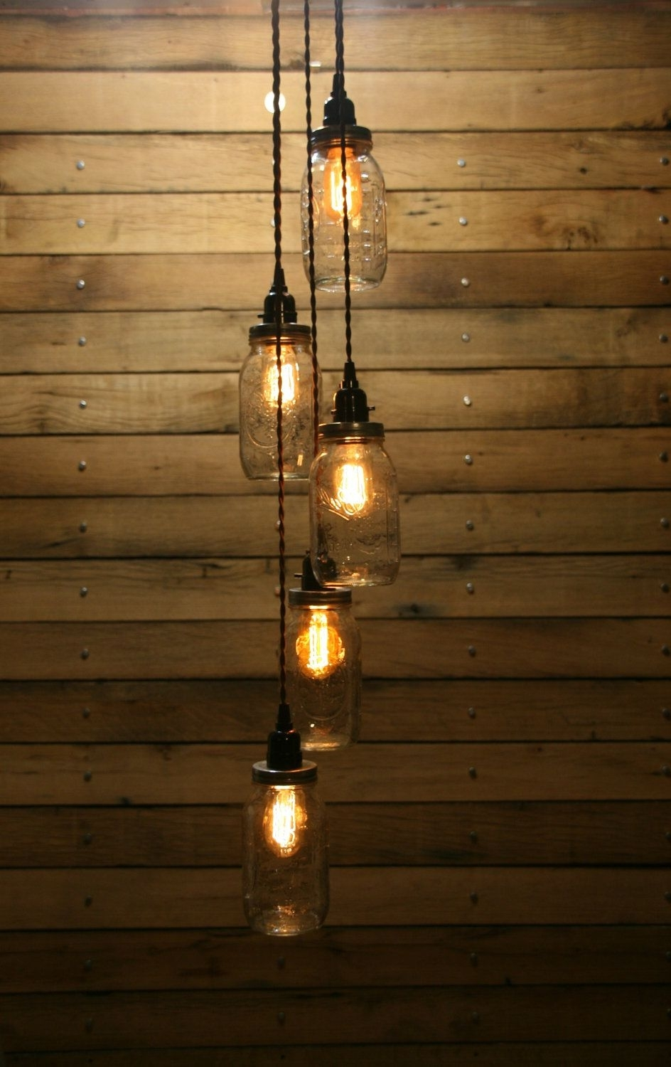 Well Liked Outdoor Hanging Bottle Lights Regarding 5 Jar Pendant Light – Mason Jar Chandelier Light – Staggered Length (View 18 of 20)