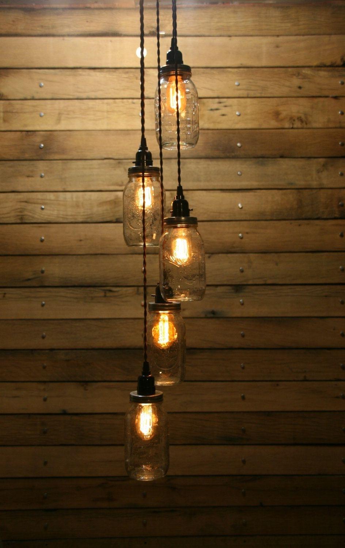 Well Liked Outdoor Hanging Bottle Lights Regarding 5 Jar Pendant Light – Mason Jar Chandelier Light – Staggered Length (View 9 of 20)