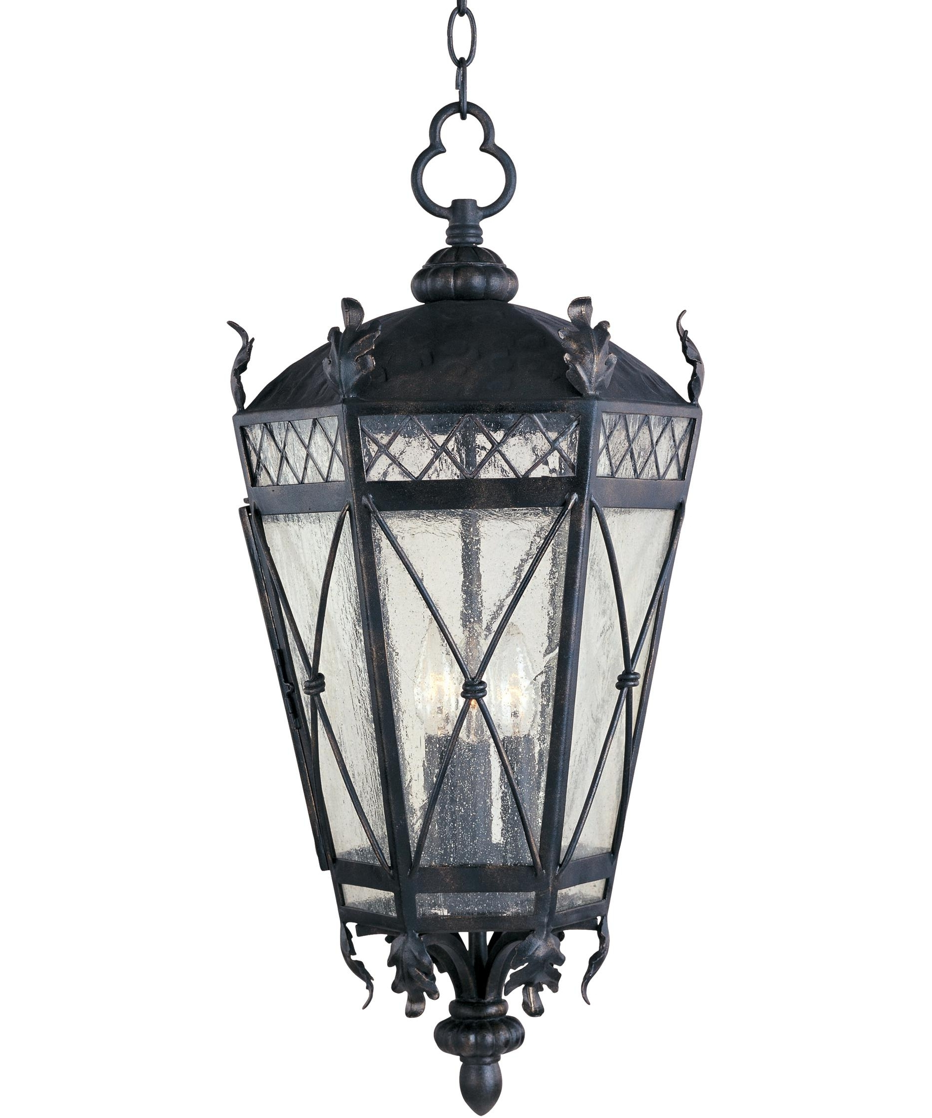 Well Liked Outdoor Hanging Glass Lanterns In Maxim Lighting 30459 Canterbury 12 Inch Wide 3 Light Outdoor Hanging (View 18 of 20)