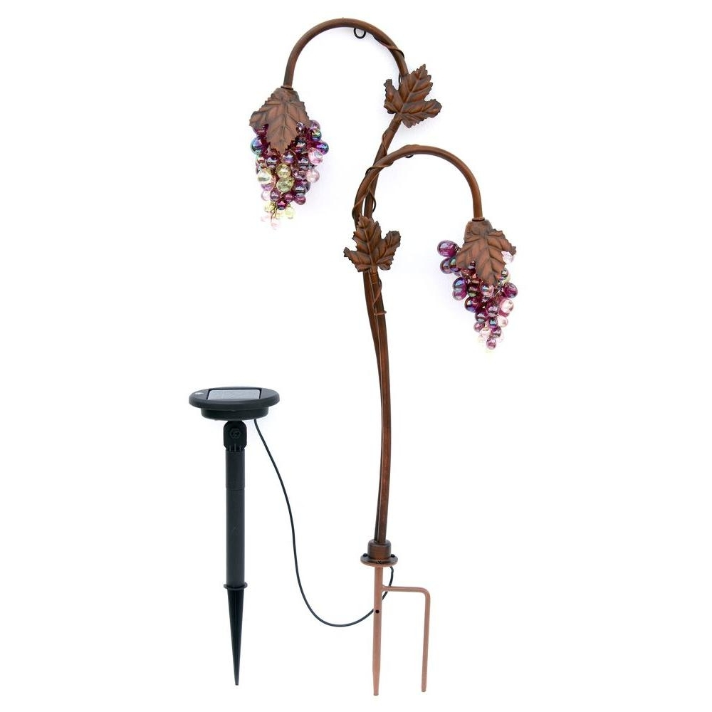 Well Liked Outdoor Hanging Grape Lights Throughout Trendscape Twin Head Grape Lighting Bronze Solar Led Path Light Gx (View 17 of 20)