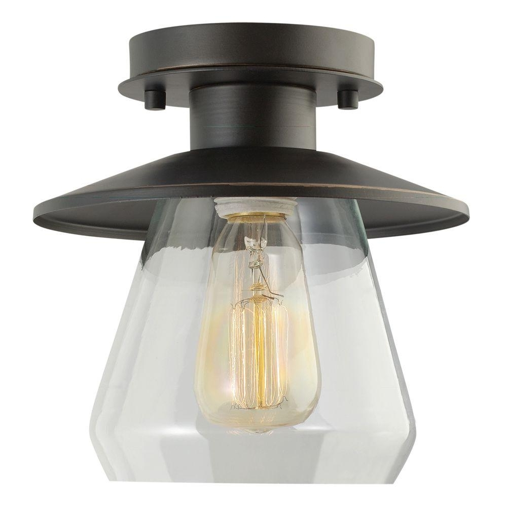 Well Liked Outdoor Semi Flush Ceiling Lights With Regard To Globe Electric Vintage Semi Flush Mount Oil Rubbed Bronze And Glass (View 18 of 20)