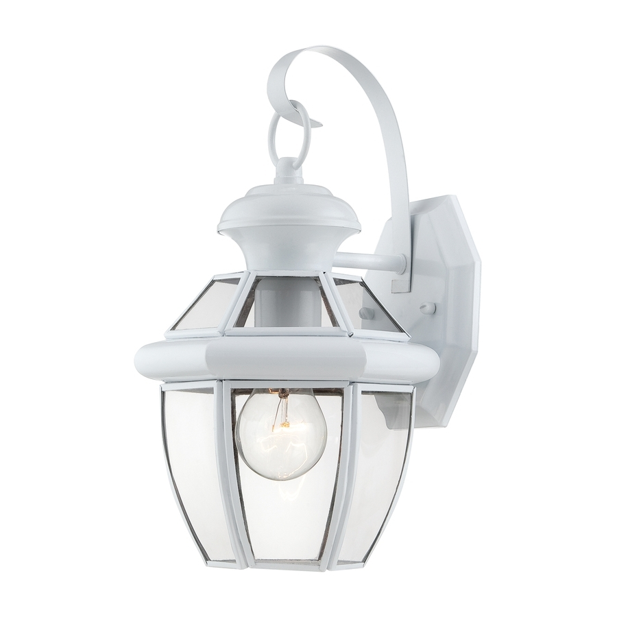 Well Liked White Outdoor Wall Lighting In Shop Portfolio Brayden 12 In H White Outdoor Wall Light At Lowes (View 16 of 20)