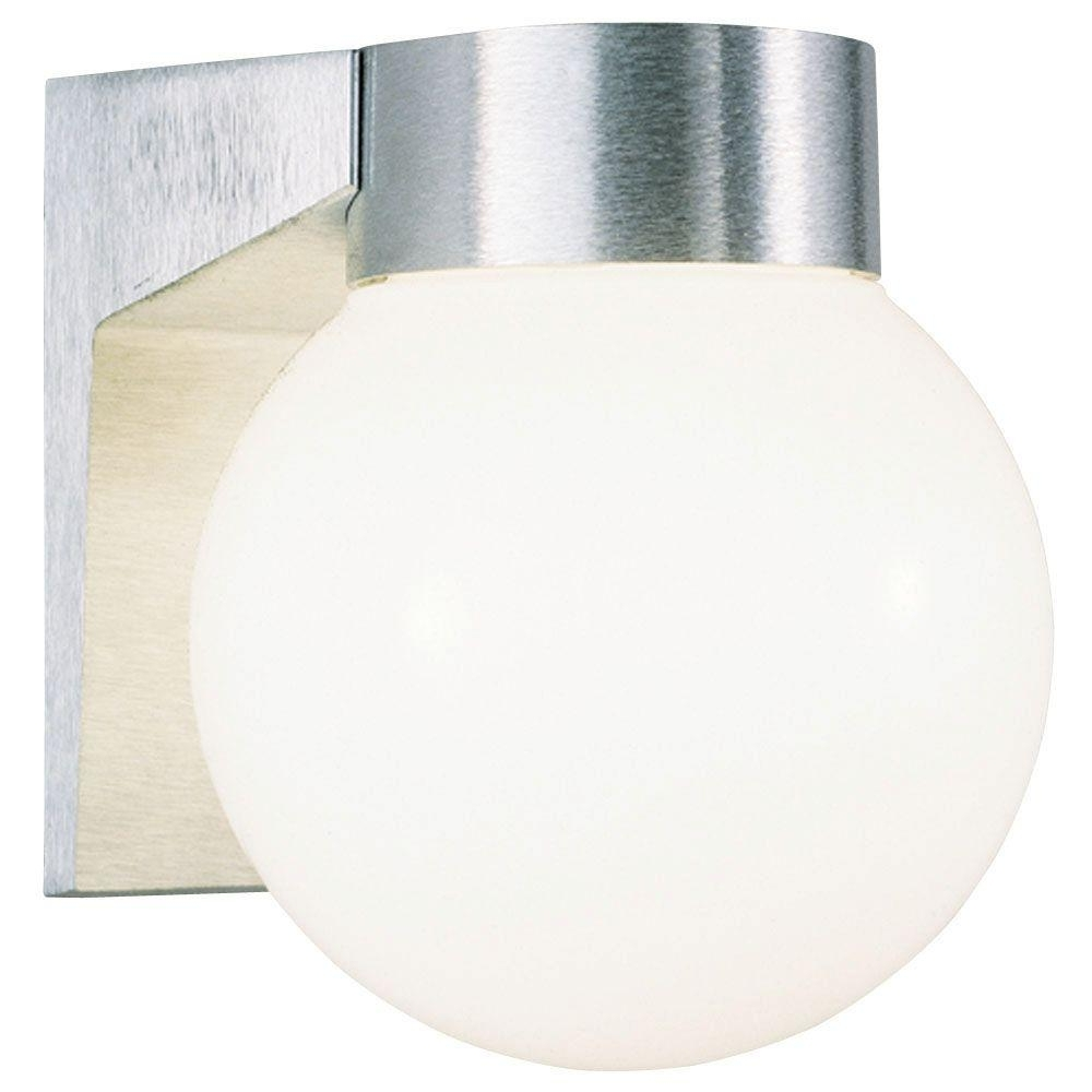 Westinghouse 1 Light Brushed Aluminum On Cast Exterior Wall Lantern With Regard To Most Popular Globe Outdoor Wall Lighting (View 20 of 20)