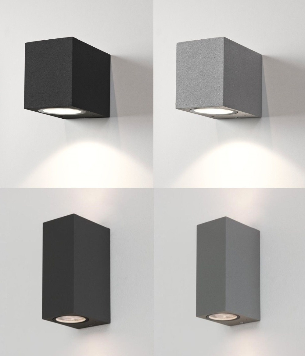 White Grey Black External Outdoor Wall Lights Up Down Halogen 6w Led Intended For 2019 Up Down Outdoor Wall Lighting (View 8 of 20)