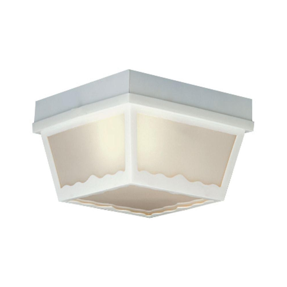 White Outdoor Ceiling Lights Within Well Known Thomas Lighting 1 Light Matte White Outdoor Ceiling Flush Mount (View 5 of 20)