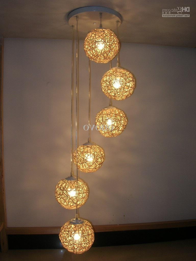 Widely Used 6 Light Natural Rattan Woven Ball Stair Pendant Light Living Room Intended For Outdoor Rattan Hanging Lights (View 20 of 20)
