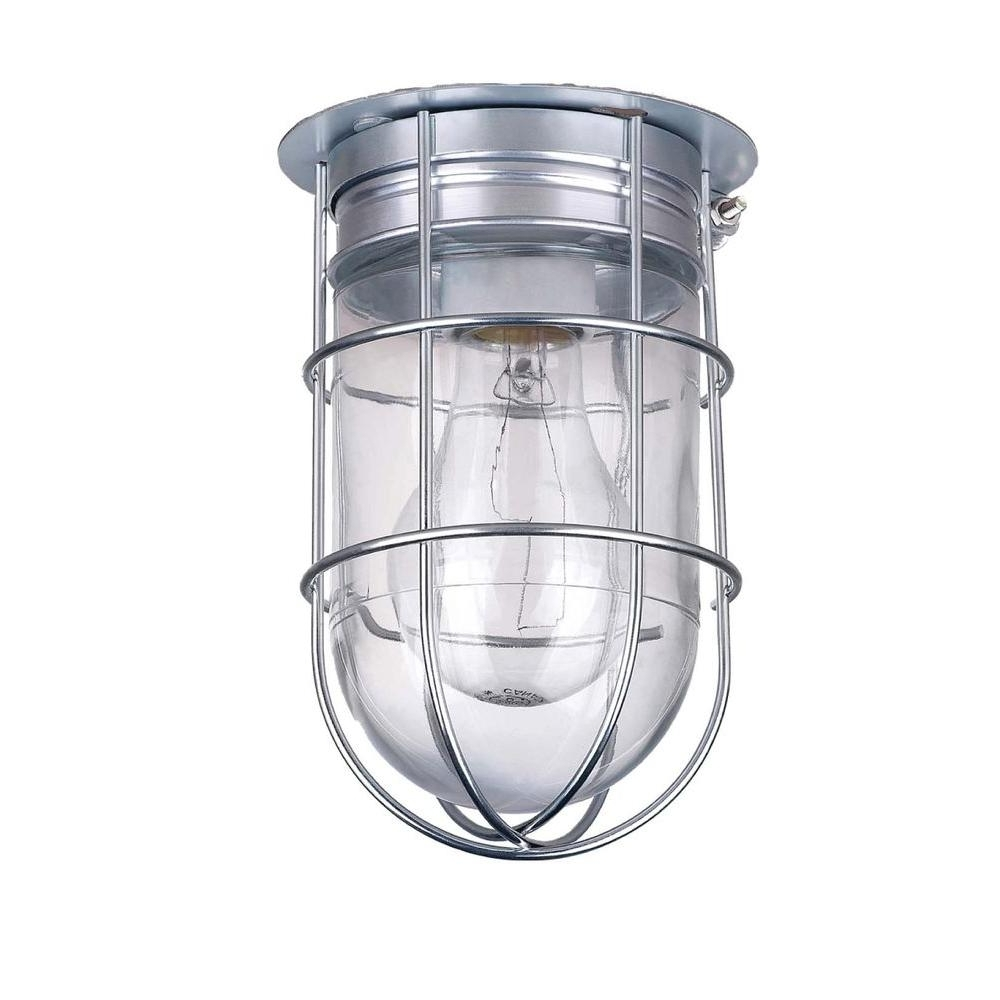 Widely Used Canarm All Weather 1 Light Pewter Outdoor Ceiling Mount With Clear Within Outdoor Ceiling Lights At Home Depot (View 19 of 20)