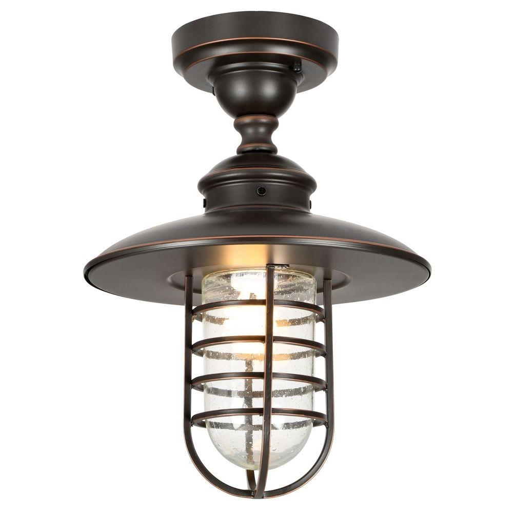 Widely Used Hampton Bay Dual Purpose 1 Light Outdoor Hanging Oil Rubbed Bronze Pertaining To Outdoor Ceiling Lights At Home Depot (View 20 of 20)