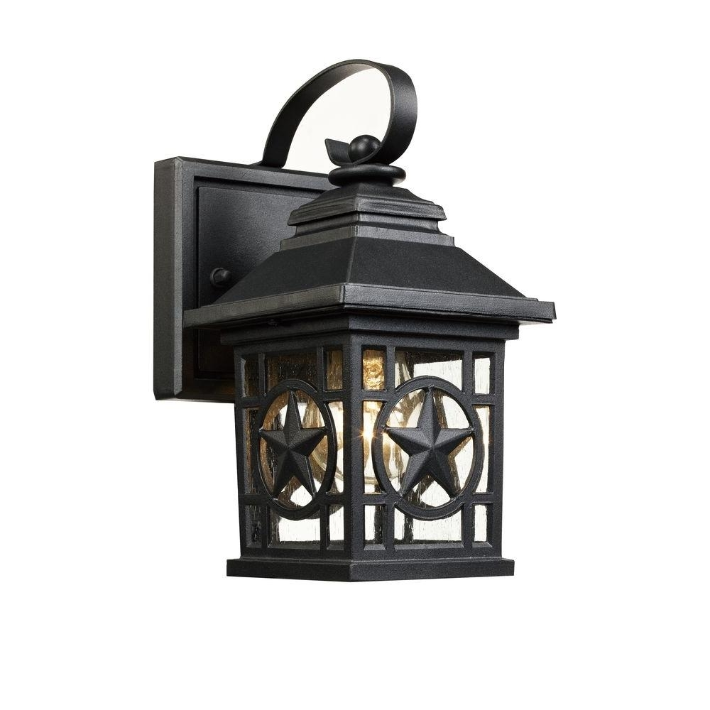 Widely Used Laredo Texas Star Outdoor Black Wall Lantern 1001193064 – The Home Depot Throughout Rustic Outdoor Lighting At Home Depot (View 19 of 20)
