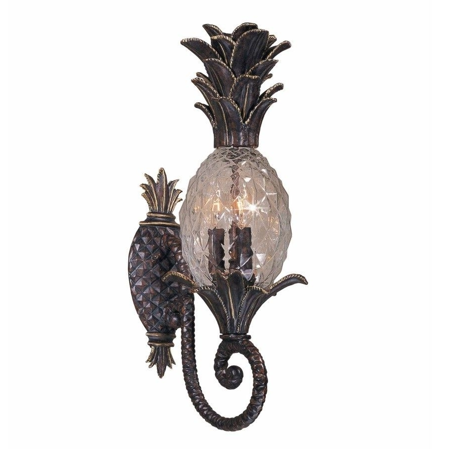 Widely Used New 3 Light Tropical Outdoor Wall Lamp Lighting Fixture, Bronze In Pineapple Outdoor Wall Lights (View 16 of 20)