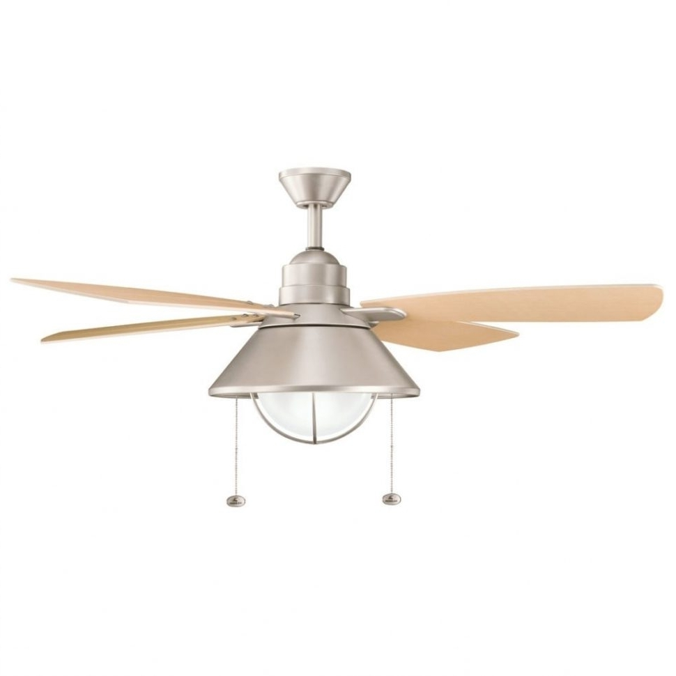 Widely Used Outdoor Ceiling Lights At Menards Intended For Ceiling Fans : Hampton Bay Seaport In Indooroutdoor Natural Iron (View 20 of 20)