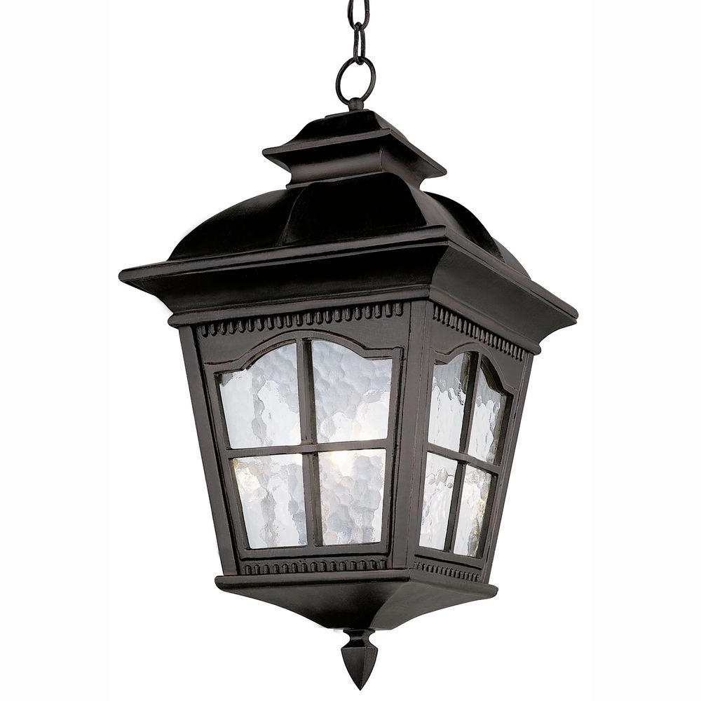 Widely Used Outdoor Hanging Coach Lanterns Inside Home Decorators Collection Wilkerson 1 Light Black Outdoor Chain (View 19 of 20)