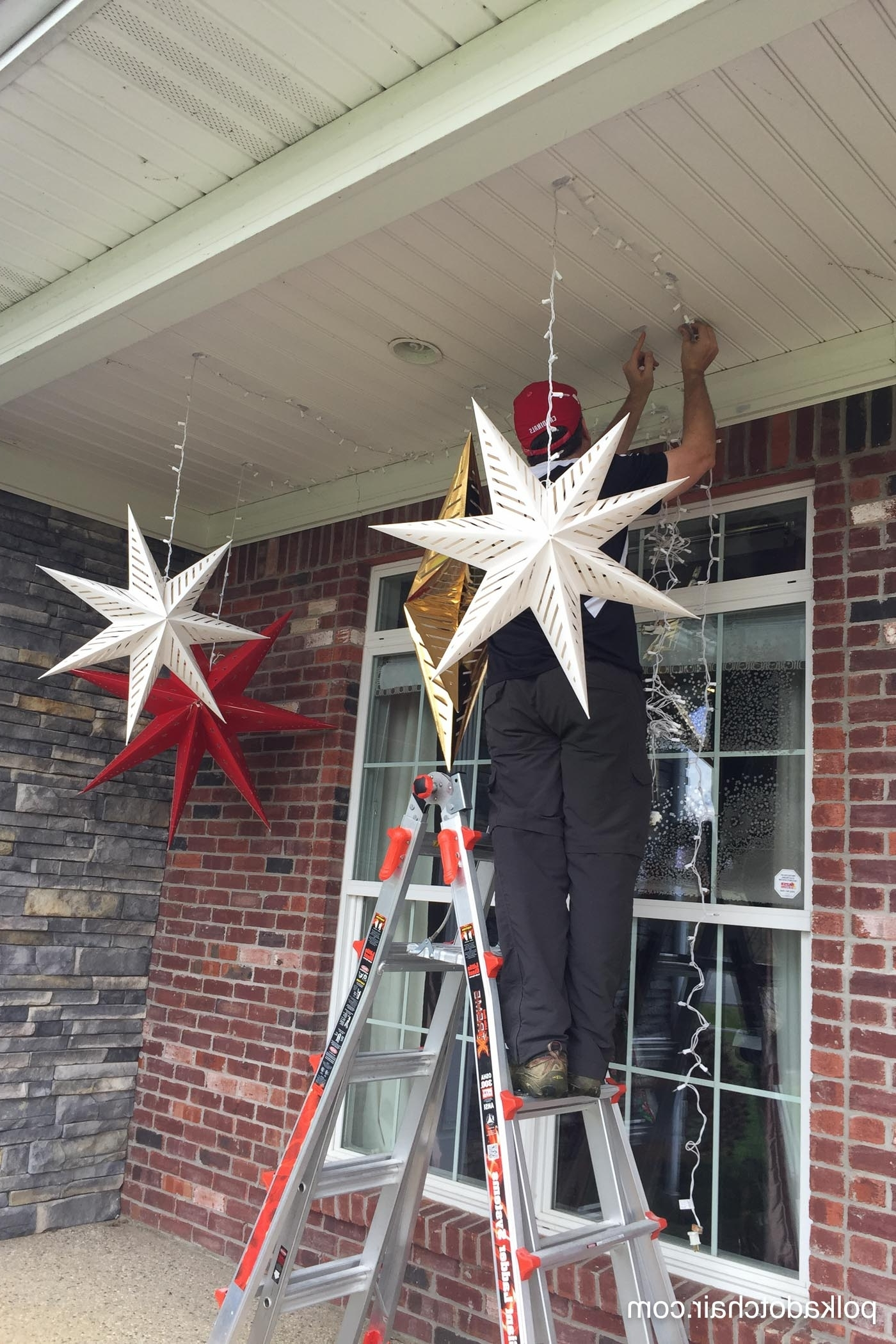 Widely Used Outdoor Hanging Star Lanterns Pertaining To Hanging Star Lanterns; A Christmas Front Porch Decorating Idea – The (View 5 of 20)