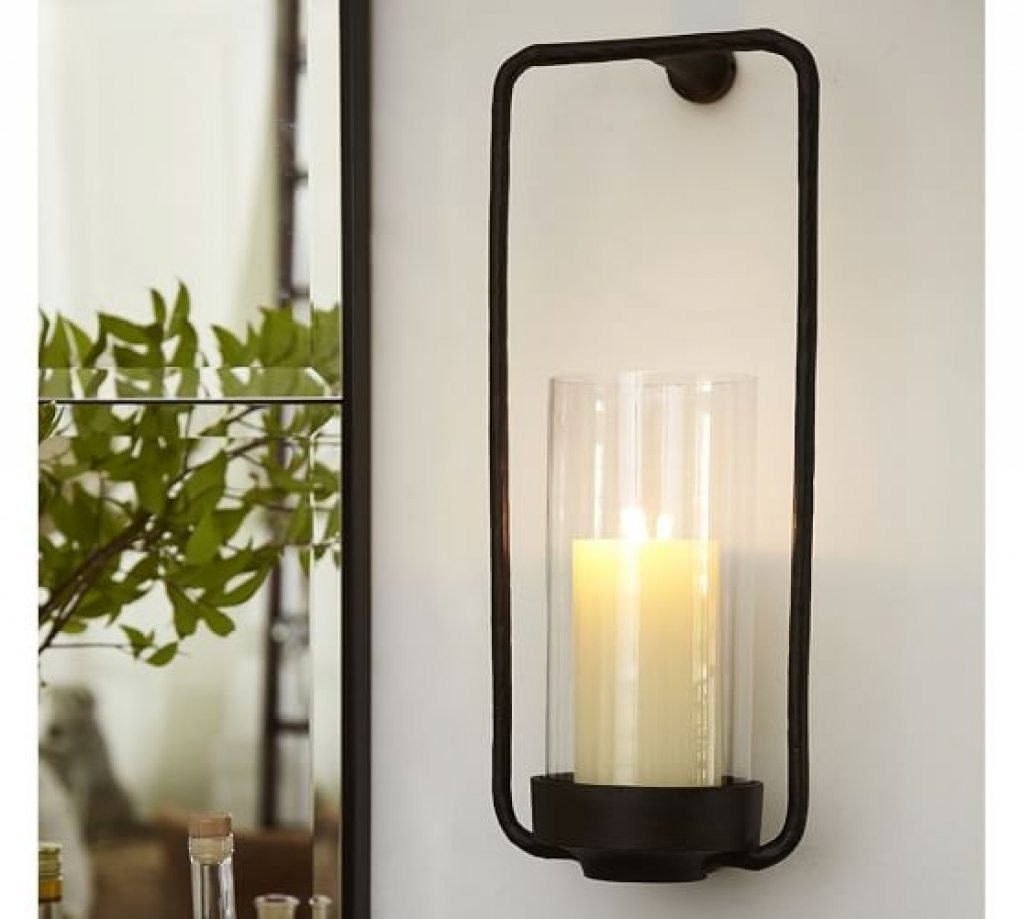 Widely Used Rectangular Iron Amp Glass Wall Mount Candle Sconce Pottery Barn Inside Pottery Barn Outdoor Wall Lighting (View 13 of 20)