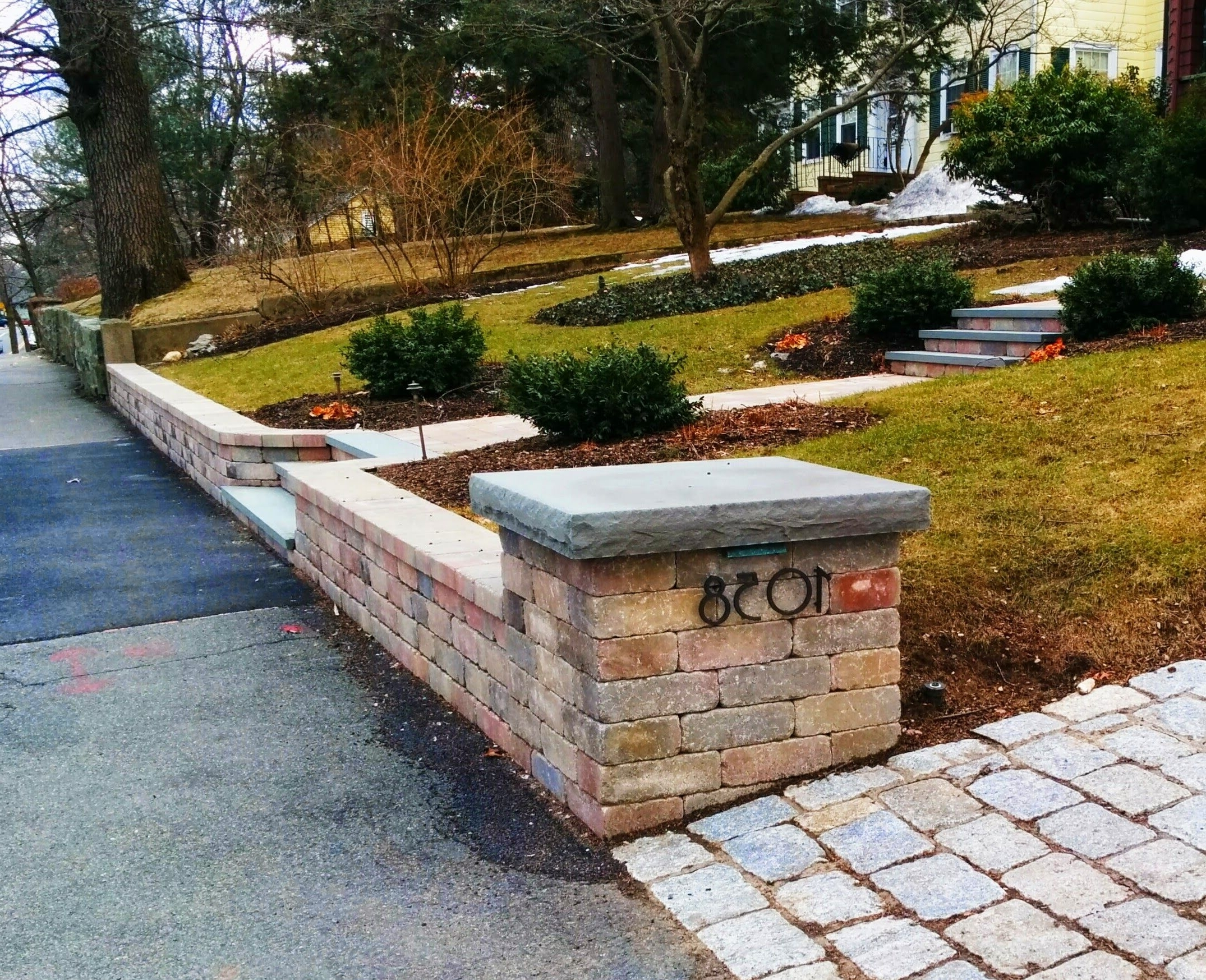 Widely Used Segmental Concrete Block Retaining Wall, Pillars, And Steps With Within Outdoor Block Wall Lighting (View 20 of 20)