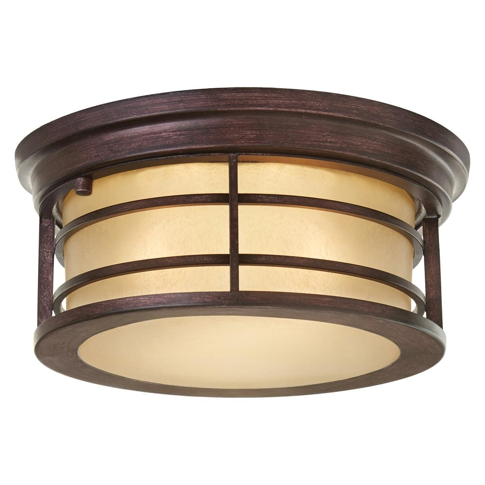 Widely Used Unique Outdoor Ceiling Lights Regarding Home Decorators Collection 2 Light Bronze Outdoor Ceiling Light With (View 20 of 20)