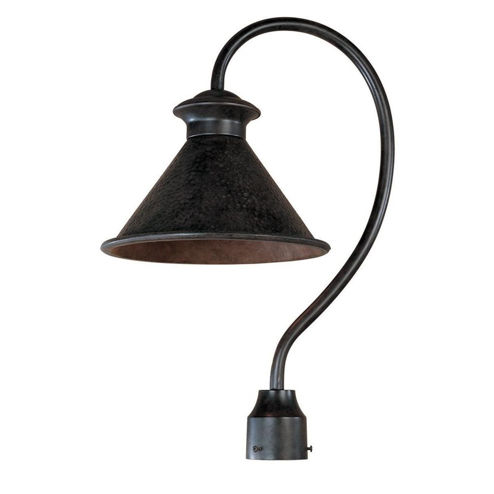 World Imports Dark Sky Essen 1 Light Outdoor Bronze Post Lamp Regarding Newest Rustic Outdoor Lighting At Home Depot (View 14 of 20)