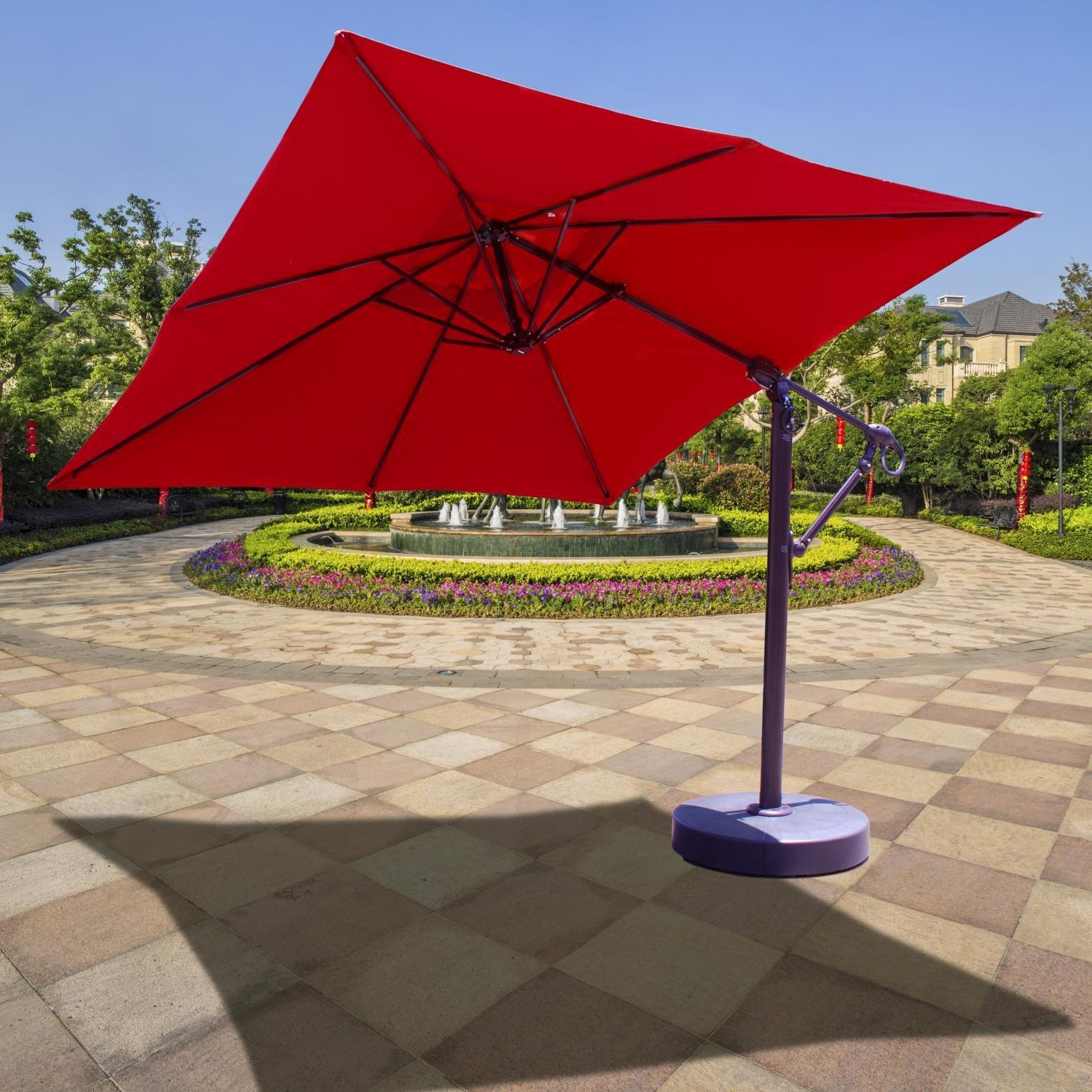10 Ft Patio Umbrellas Regarding Best And Newest Galtech 10 Ft Aluminum Square Cantilever Patio Umbrella With Easy (Gallery 12 of 20)