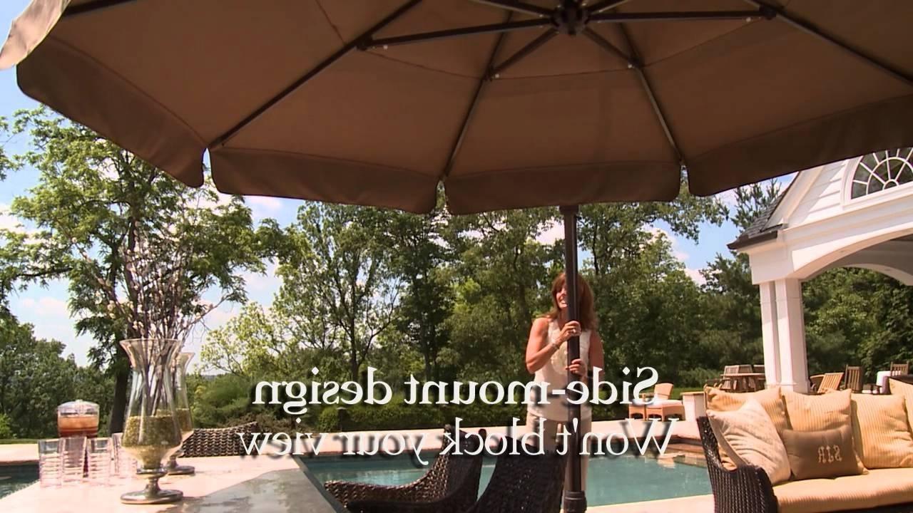 11 Ft Round Side Mount Umbrella – Youtube Inside Fashionable European Patio Umbrellas (View 5 of 20)