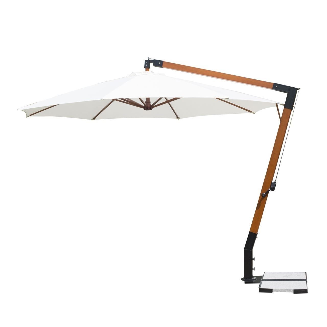 12' Wooden Hanging Offset Patio Umbrella With Throughout Well Known Hanging Offset Patio Umbrellas (View 18 of 20)