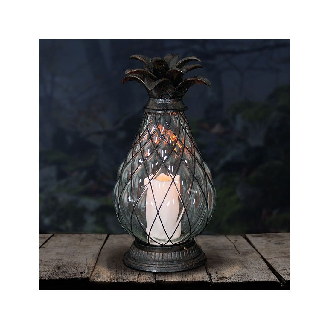 "17"" Bronze Pineapple Lantern With Led Candle – Dimensions: 8"" X 8"" X Intended For Current Outdoor Pineapple Lanterns (Gallery 12 of 20)"