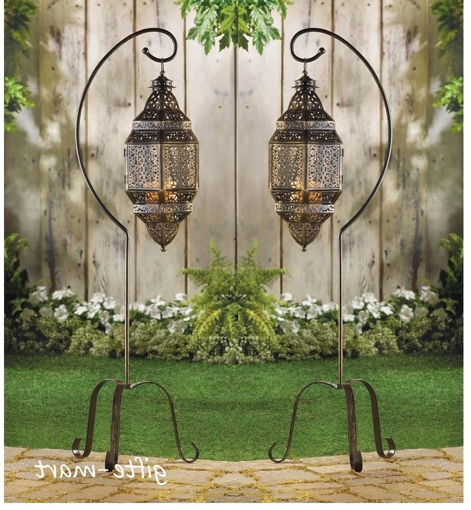 2 Large Hanging Moroccan Pendant Lantern Candle Holder Lamp Floor Throughout Popular Outdoor Standing Lanterns (View 1 of 20)