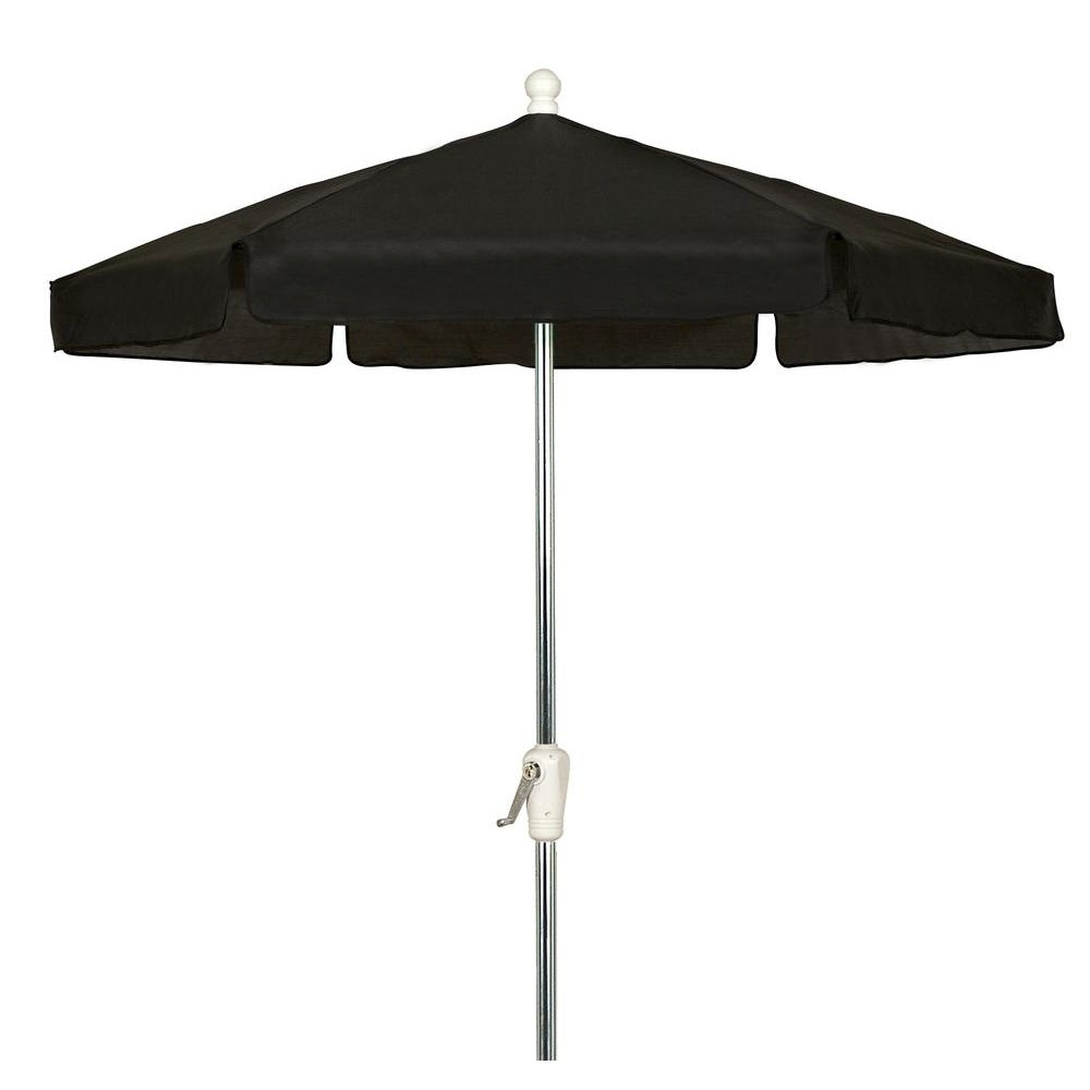 2018 6 Ft Patio Umbrellas Regarding 7.5 Ft. Hex Garden Patio Umbrella 6 Rib Crank Bright Aluminum In (Gallery 9 of 20)