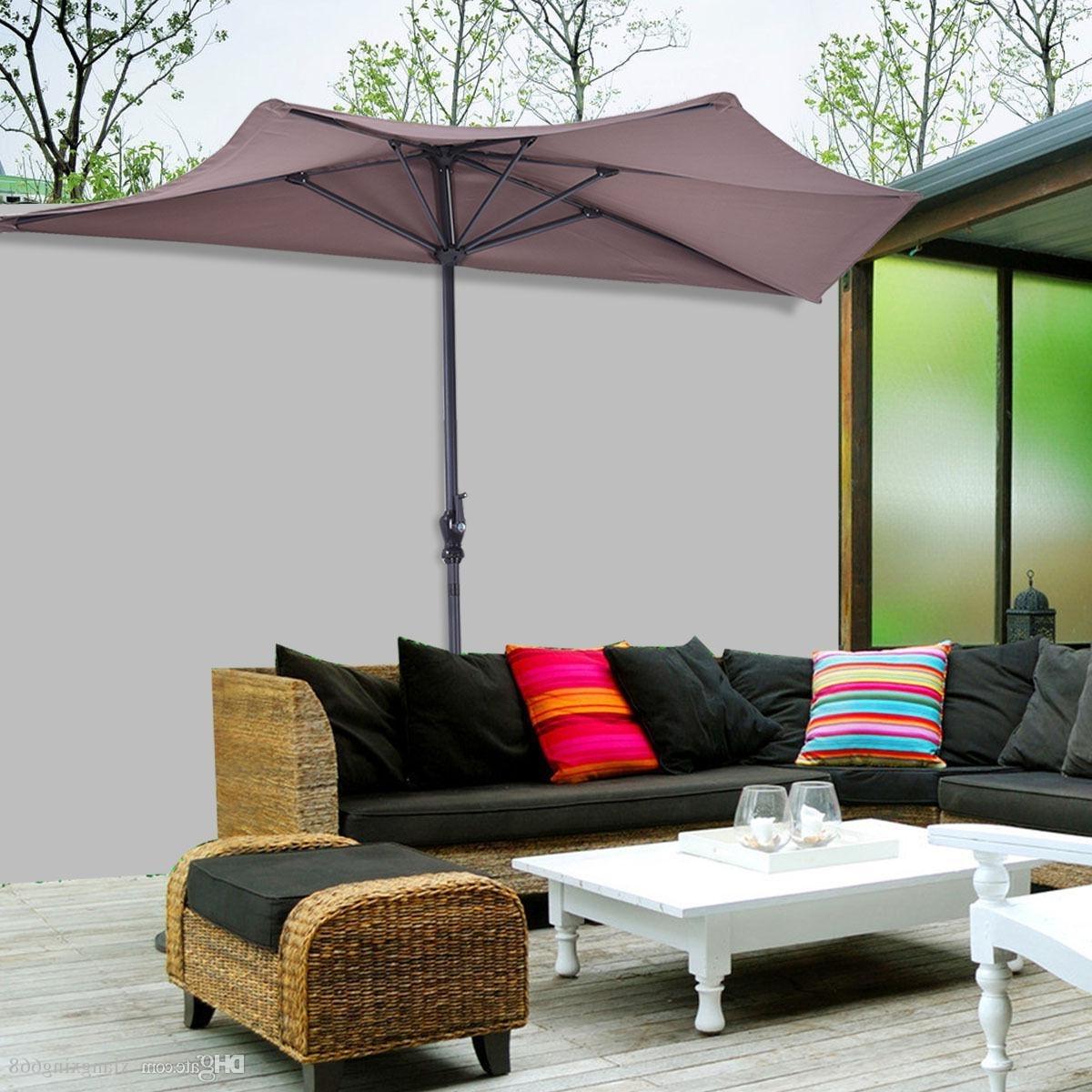 2018 9Ft Half Round Umbrella Patio Bistro Wall Balcony Door Window With Well Liked Half Patio Umbrellas (Gallery 3 of 20)