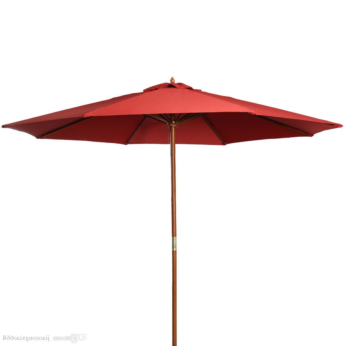 2018 9Ft Wooden Patio Umbrella Sun Shade Wood Pole Outdoor Beach In Current Red Patio Umbrellas (View 1 of 20)