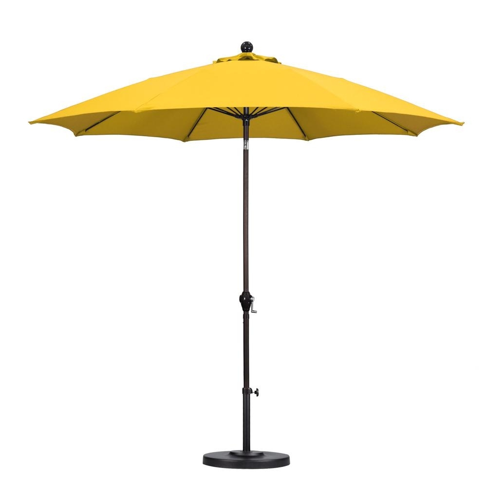 2018 California Umbrella 9 Ft. Fiberglass Push Tilt Patio Umbrella In Within Yellow Sunbrella Patio Umbrellas (Gallery 1 of 20)