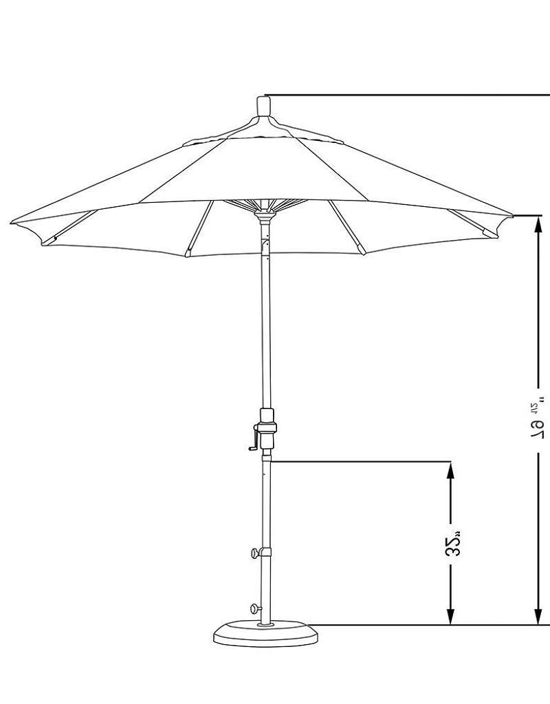 2018 California Umbrella 9' Sun Master Series Patio Umbrella With Matted Regarding Sunbrella Black Patio Umbrellas (View 17 of 20)