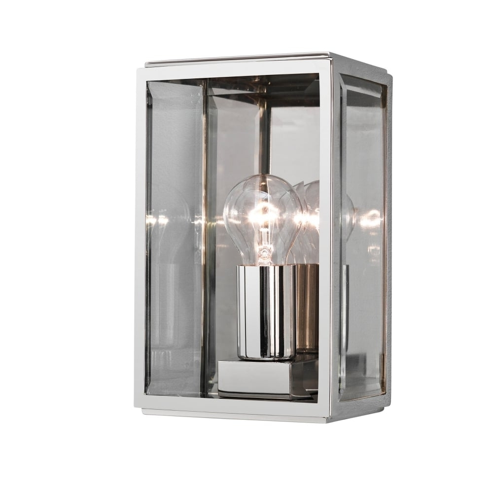 2018 Contemporary Polished Nickel Outdoor Box Wall Lantern In Nickel Outdoor Lanterns (Gallery 18 of 20)