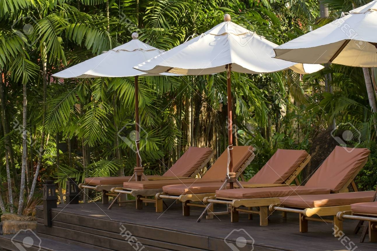2018 Exotic Patio Umbrellas For Beach Loungers And Umbrellas On The Beach Next To The Sea In. (View 6 of 20)