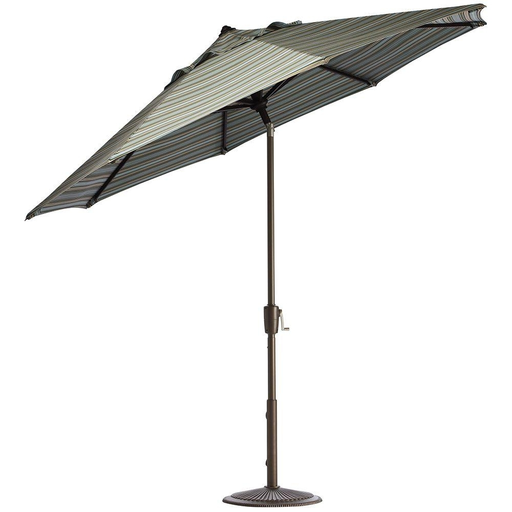 2018 Home Decorators Collection 7.5 Ft. Aluminum Auto Tilt Patio Umbrella Intended For Striped Sunbrella Patio Umbrellas (Gallery 2 of 20)
