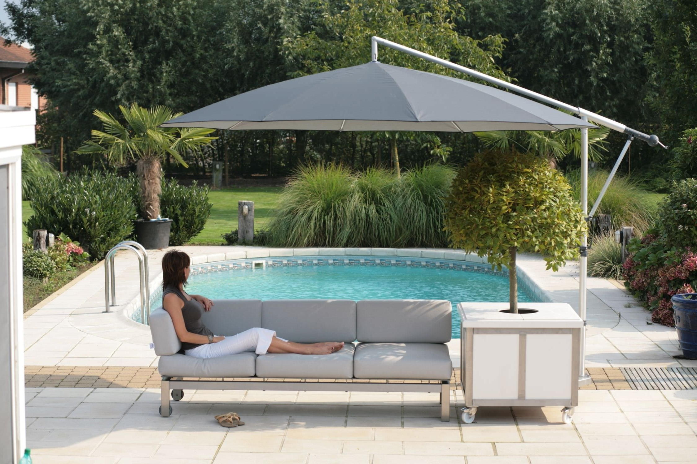2018 Offset Patio Umbrellas With Base Within Offset Patio Umbrella Base Weights : Offset Patio Umbrella And A (Gallery 5 of 20)
