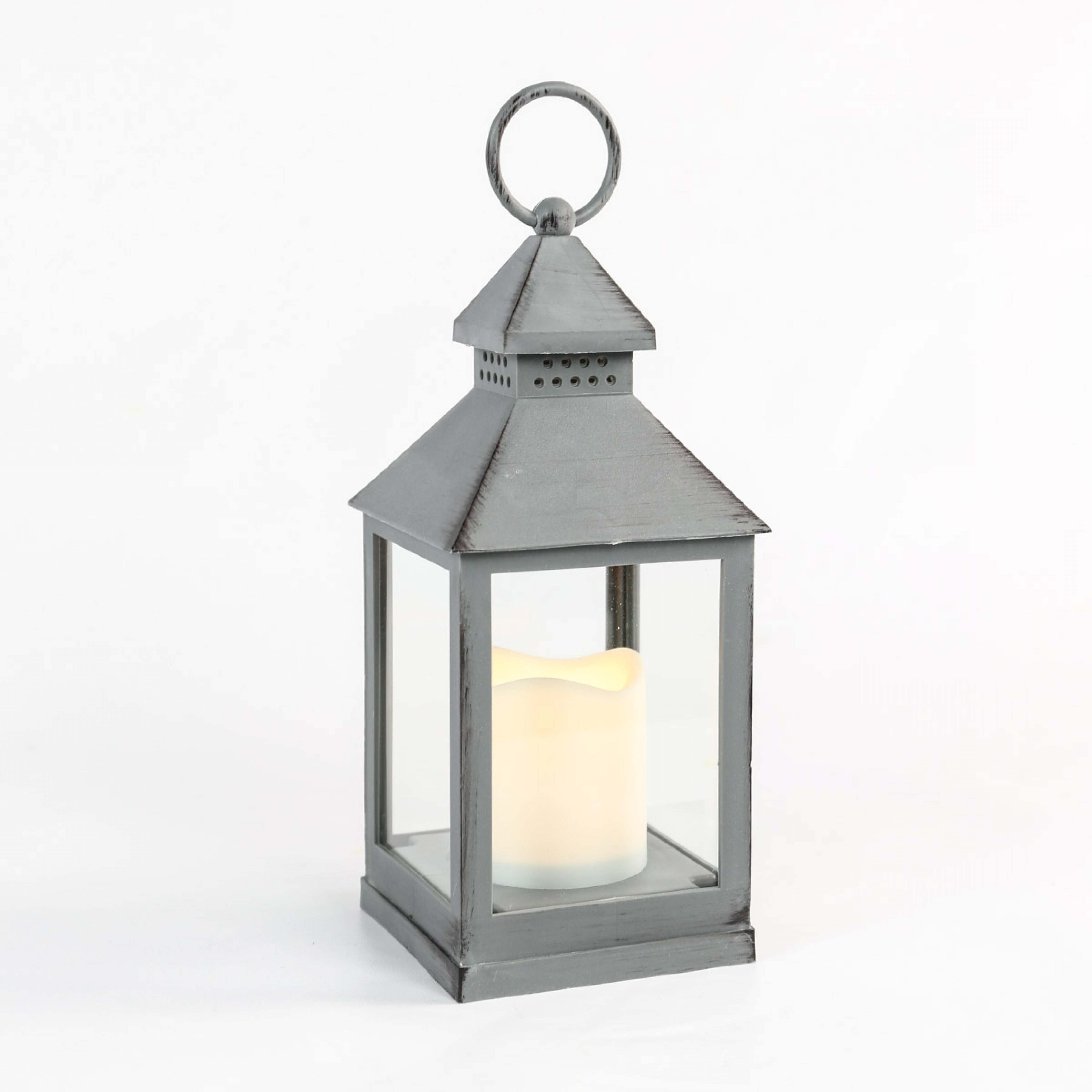 2018 Outdoor Grey Lanterns Intended For Outdoor Battery Flickering Candle Lantern, 24Cm (View 1 of 20)