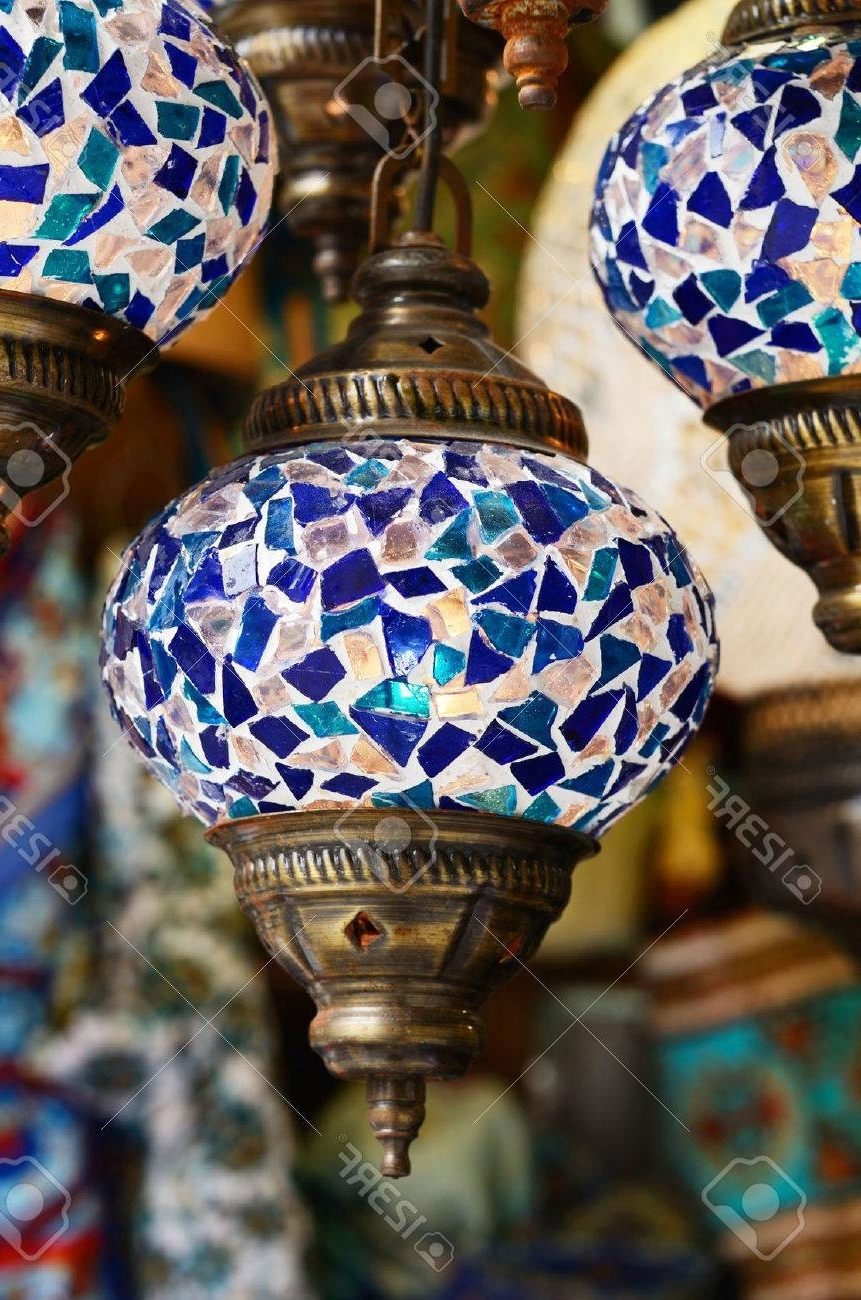 2018 Outdoor Mosaic Lanterns In Traditional Turkish Mosaic Lanterns In Blue Color Stock Photo (Gallery 8 of 20)