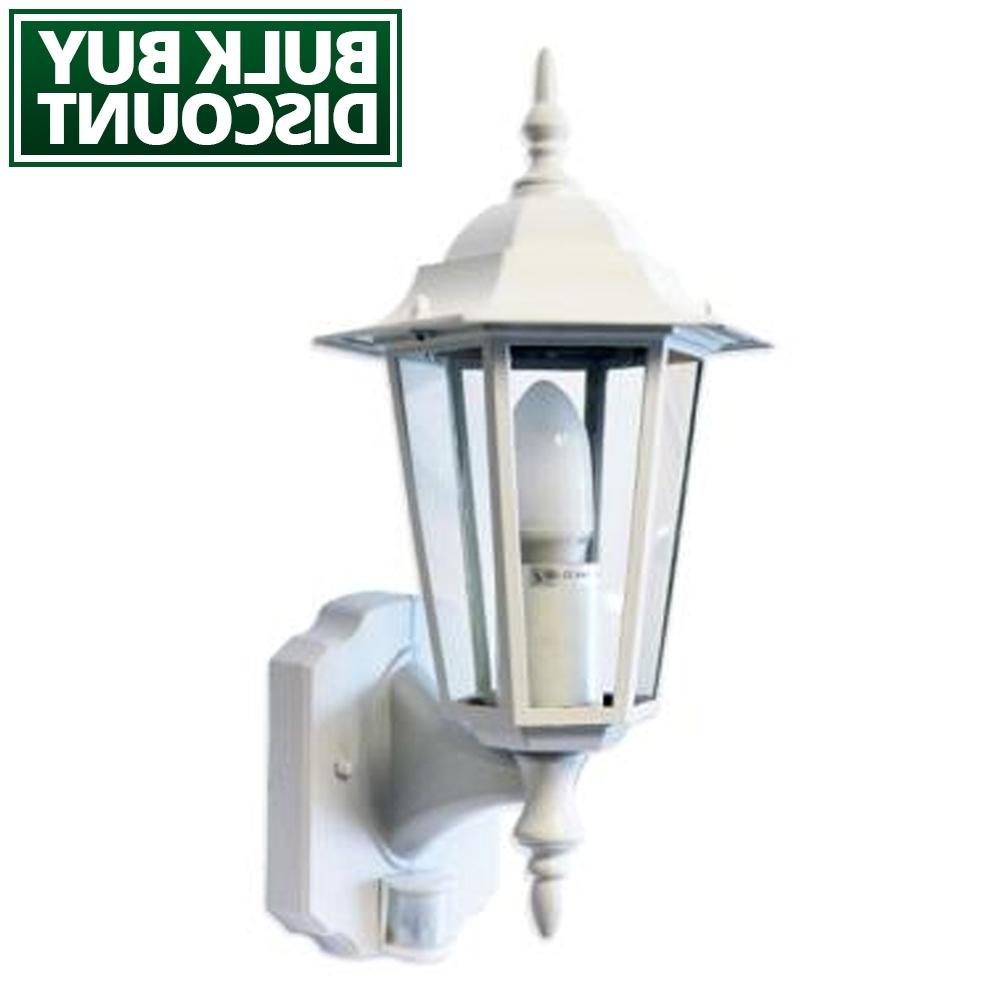 2018 Outdoor Pir Lanterns Regarding Regent – White Pir Lantern – Outdoor Motion Sensor Wall Light – Lumena (View 1 of 20)