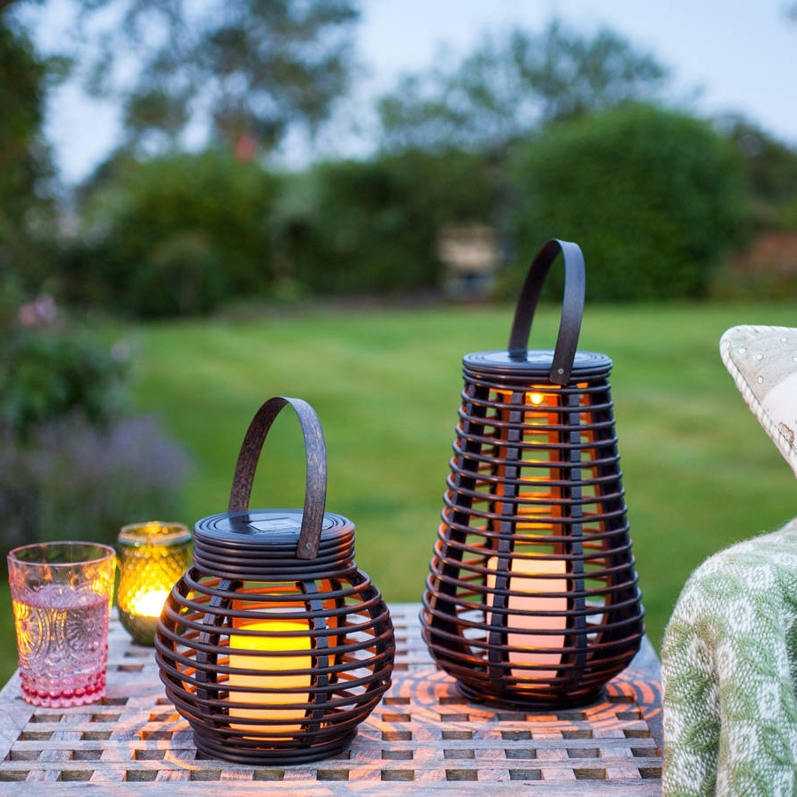 2018 Outdoor Rattan Lanterns With Regard To Set Of Two Rattan Solar Lanternslights4fun (View 4 of 20)