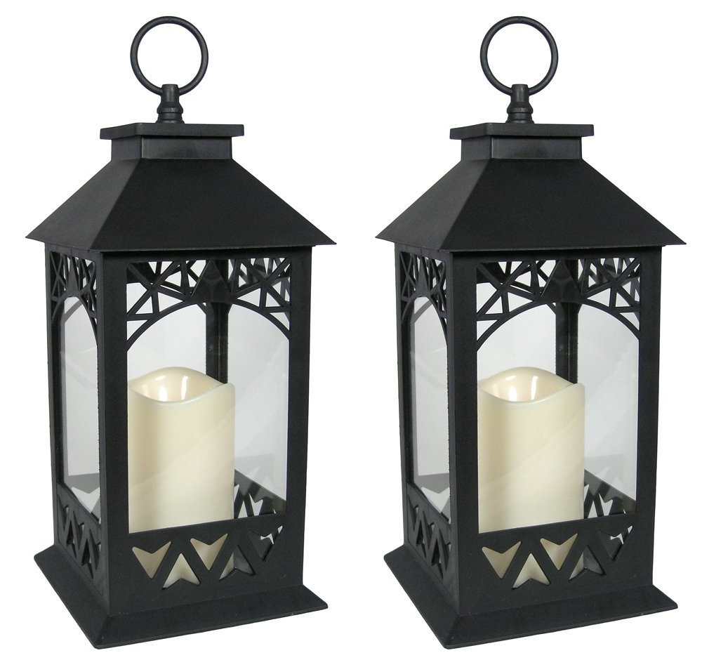 2018 Outdoor Timer Lanterns Intended For Buy Outdoor 5 Hour Timer Black Decorative Battery Operated Mini (Gallery 8 of 20)