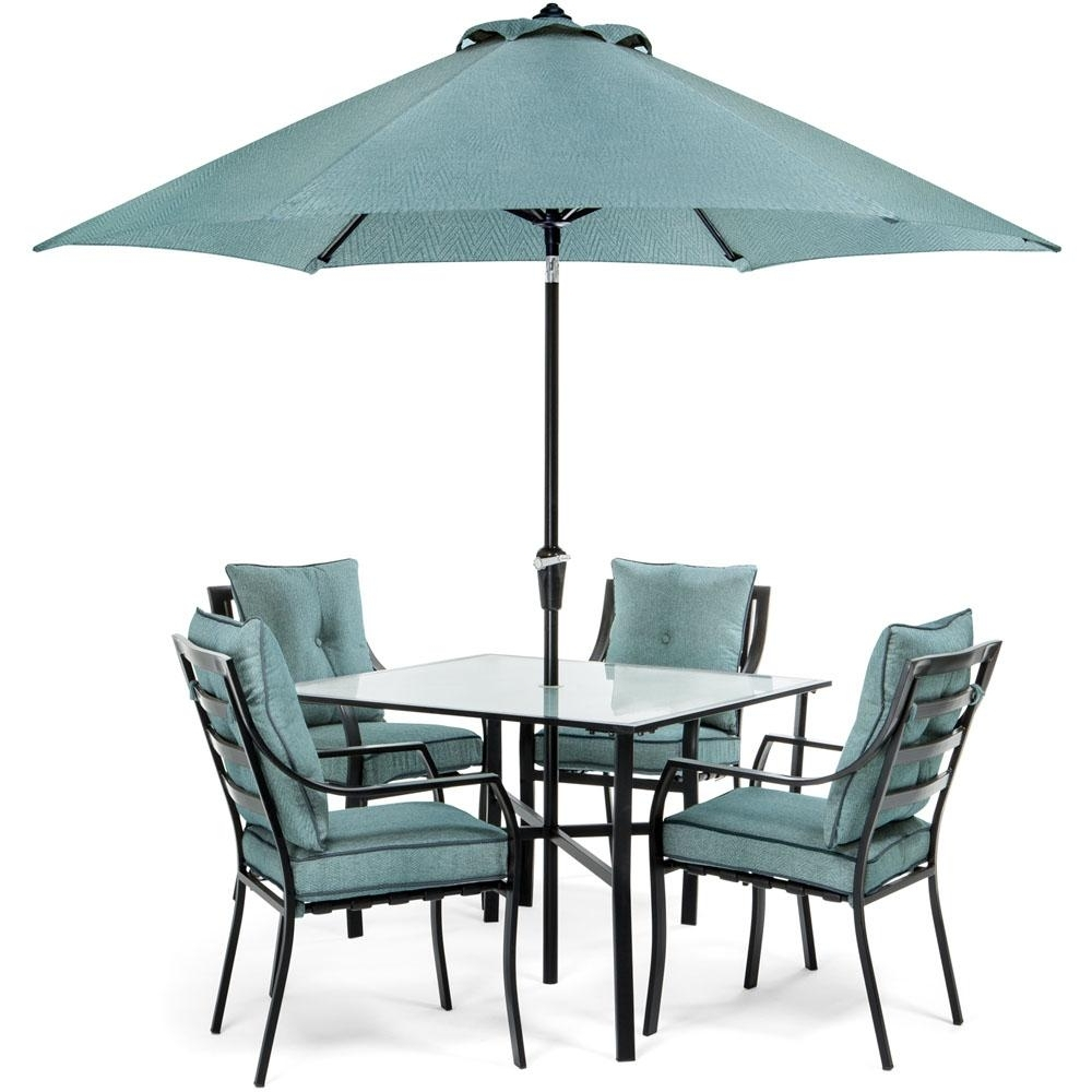 2018 Patio Dining Sets With Umbrellas Regarding Hanover Lavallette Black Steel 5 Piece Outdoor Dining Set With (Gallery 4 of 20)
