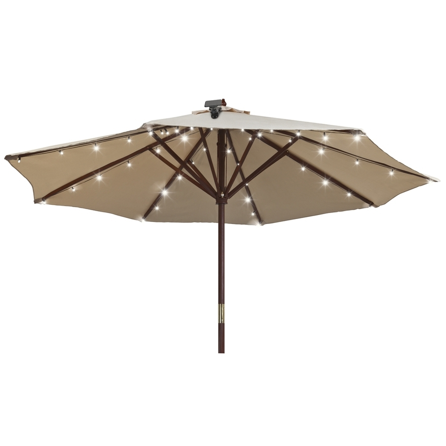 2018 Patio Umbrellas With Solar Led Lights Throughout Shop Gemmy 48 Light White Shade Led Solar Bulbs String Lights At (View 14 of 20)