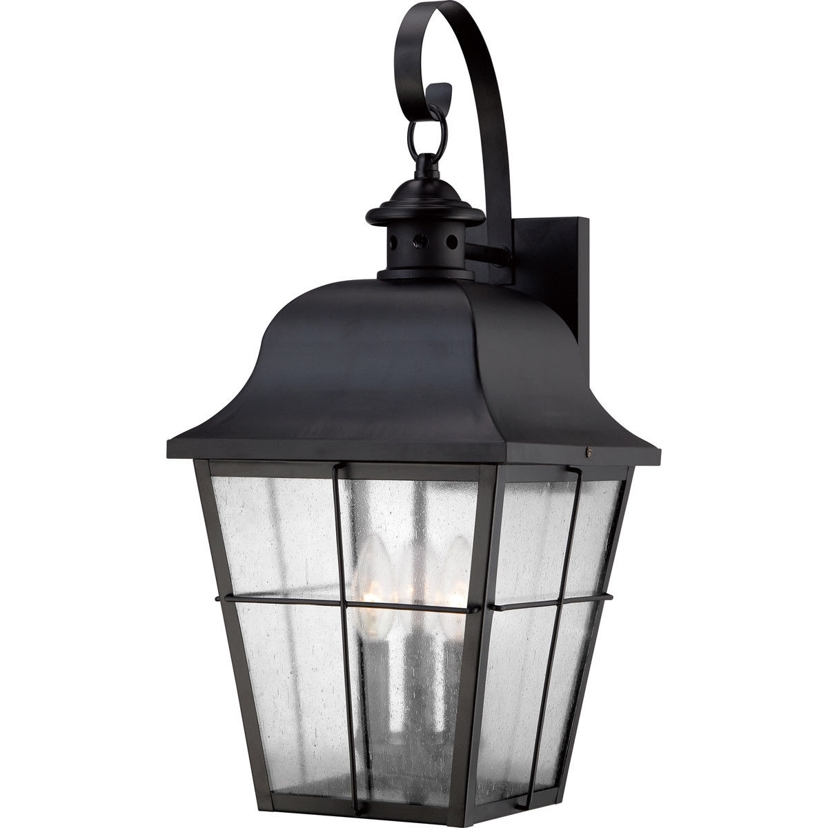 2018 Quoizel Mhe8410K Millhouse 3 Light 22 Inch Mystic Black Outdoor Wall Within Quoizel Outdoor Lanterns (Gallery 5 of 20)