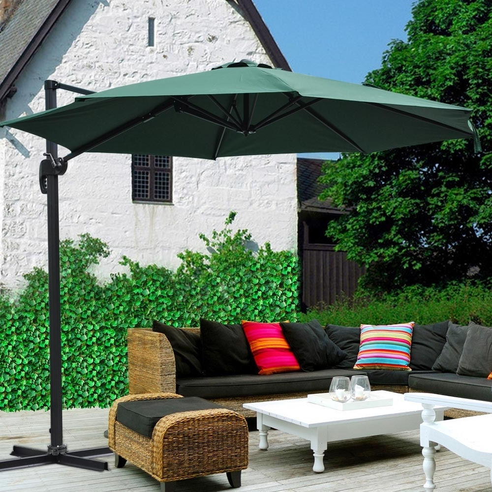 2019 10' Roma Offset Patio Umbrella 8 Ribs 200g/sqm Outdoor Cantilever Within Red Sunbrella Patio Umbrellas (View 12 of 20)